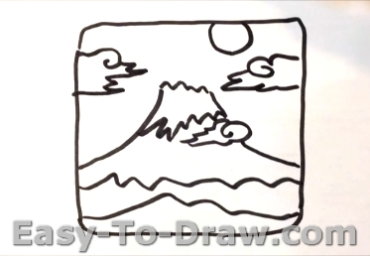 How to draw Mount Fuji 03