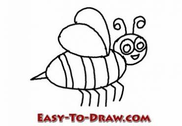 How To Draw A Cartoon Honey Bee For Kids Easy To Draw Com