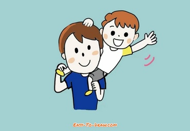 How to draw dad and son