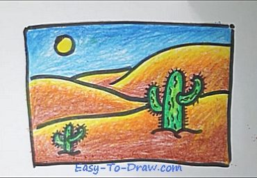 How To Draw A Cartoon Desert With Cactus For Kids Easy To Draw Com