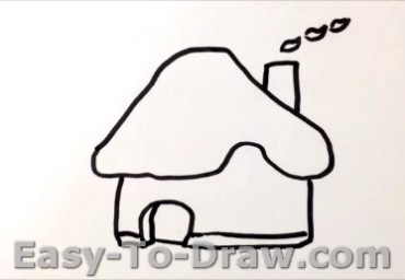 How to draw mushroom house 02