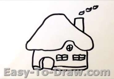 How to draw mushroom house 03
