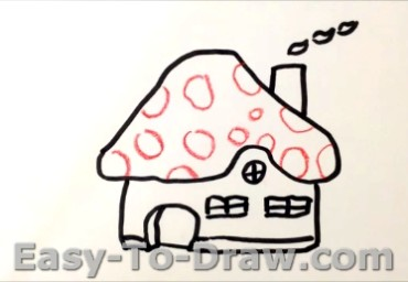 How to draw mushroom house 04