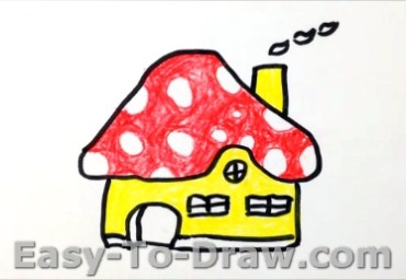 How to draw mushroom house 05