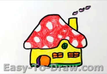 How to Draw Mushroom House for Kids