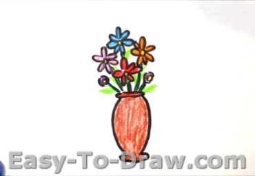 How to Draw Cartoon Potted Flowers for Kids