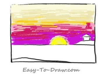 How to draw sunset 02