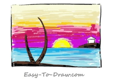 How to draw sunset 05