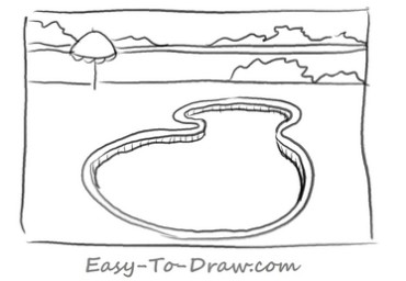 How to draw swimming pool 02