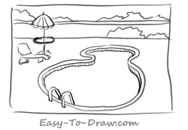 how to draw a cartoon swimming pool within a fence for kids easy to