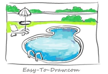 how to draw a cartoon swimming pool within a fence for