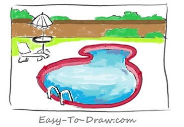 How to draw swimming pool 05