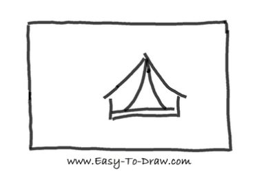 How to draw tent 02  sc 1 st  Easy-To-Draw.com & How to draw a cartoon tent in campground (Camping Place) for kids ...