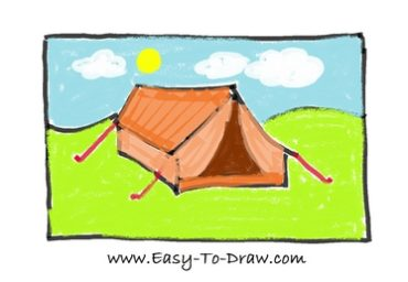 How to draw tent 09  sc 1 st  Easy-To-Draw.com & How to draw a cartoon tent in campground (Camping Place) for kids ...