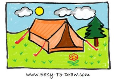 How to draw tent