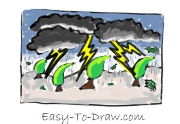 How to draw thunder storm