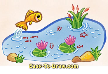 How to draw fish pond